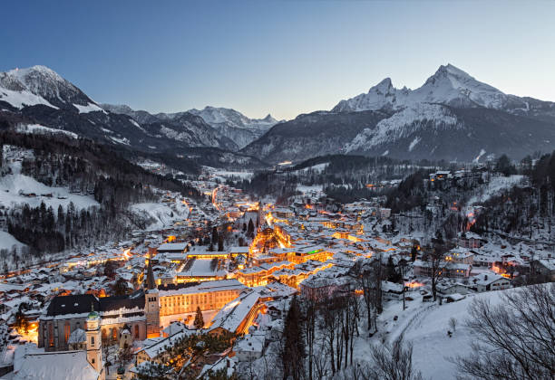 Night winter aerial panorama of Berchtesgaden old town, Germany Night view of Berchtesgaden national park in winter bavarian alps stock pictures, royalty-free photos & images