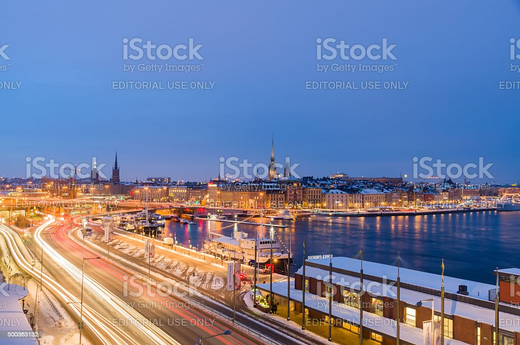 Night winter cityscape of Stockholm, Sweden stock photo