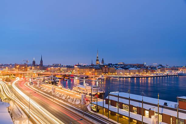 Abend winter Skyline von Stockholm, Schweden – Foto
