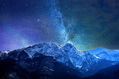 Night winter mountains panorama of Zakopane, High Tatra Mountains, Poland