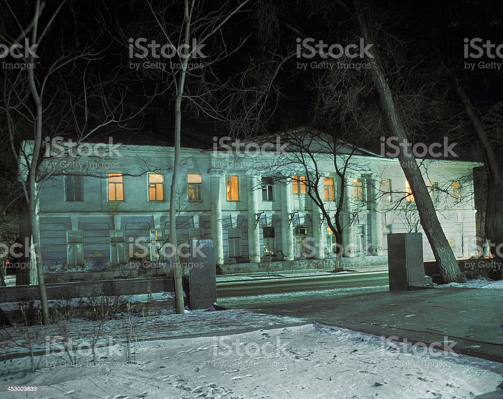Night, Winter, Old house. royalty-free stock photo