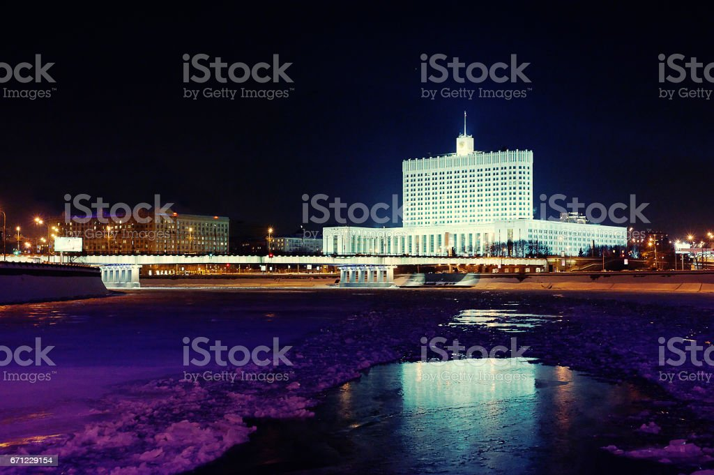 Night winter White House building view from the boat, Moscow, Russia stock photo