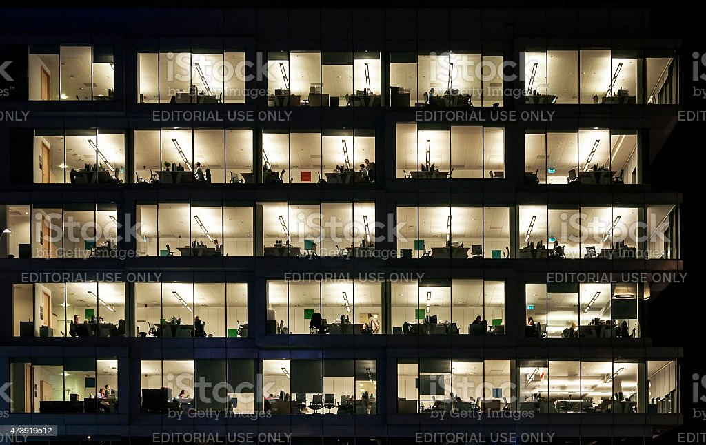 Night Work in Office Block stock photo