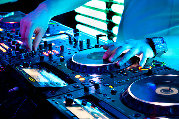 Nightclub in Moscow at party stock photo