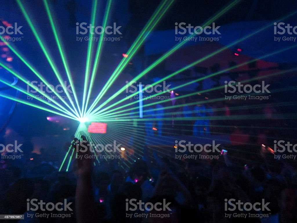 Nightclub Laser with Hands in the air stock photo