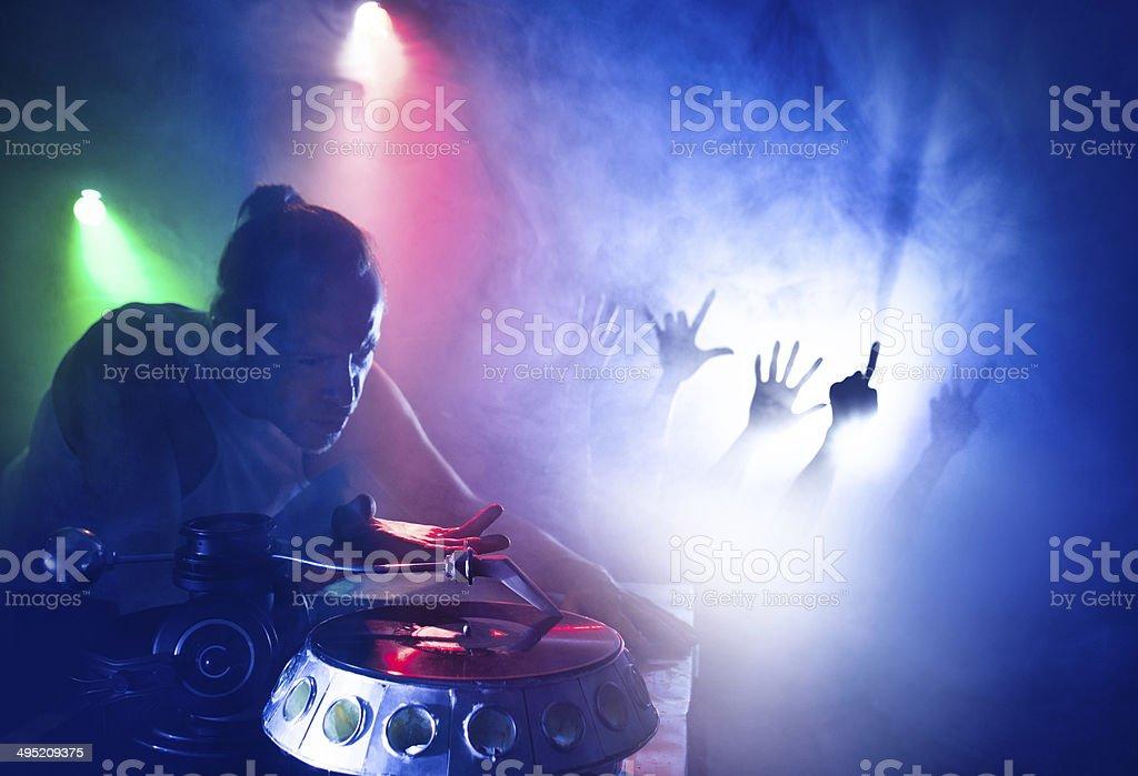 Nightclub. Turntable. Dj playing on vinyl. stock photo