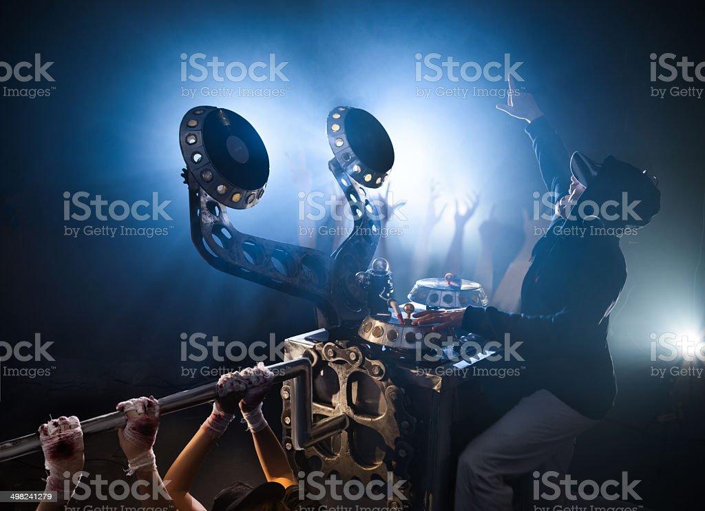 Nightclub. Turntable. Dj playing on vinyl. Slaves twist handle. royalty-free stock photo