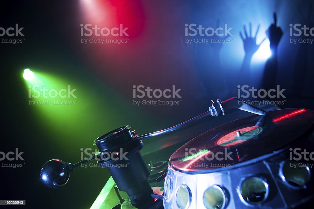 Nightclub. Turntable. Plate. royalty-free stock photo