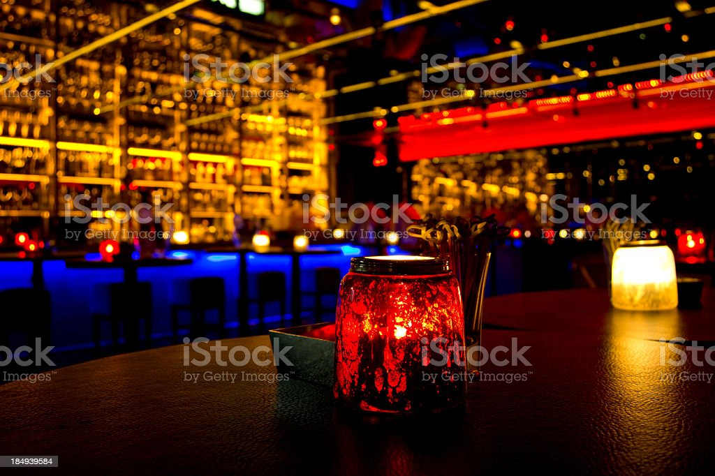 A nightclub with different color lights stock photo