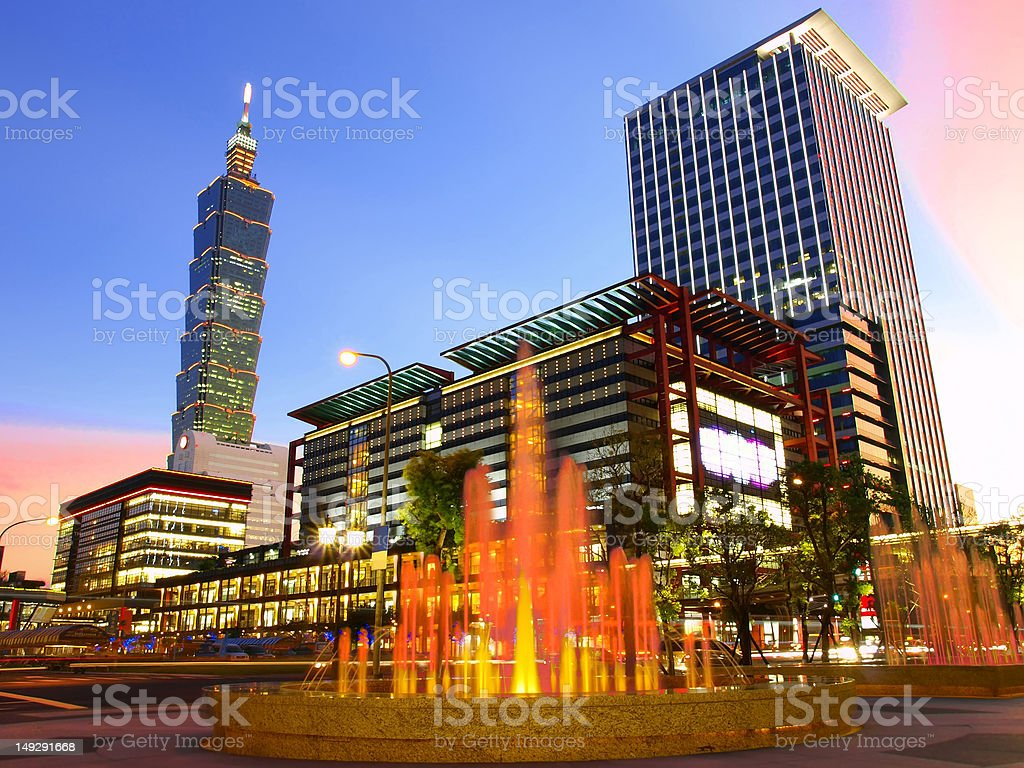 Nightfall and modern buildings stock photo
