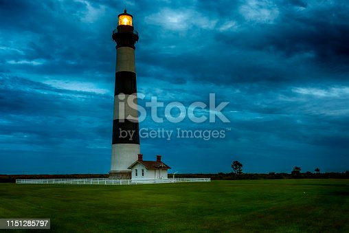 Nightfall at Cape Hatteras Lighthouse with Dramatic Skies