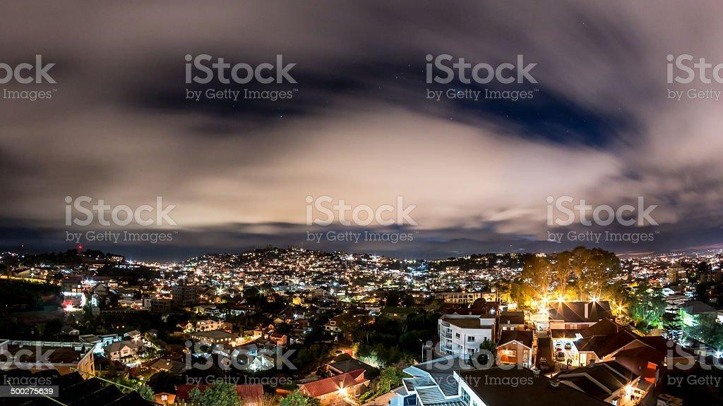 Nightfall over Antananarivo stock photo