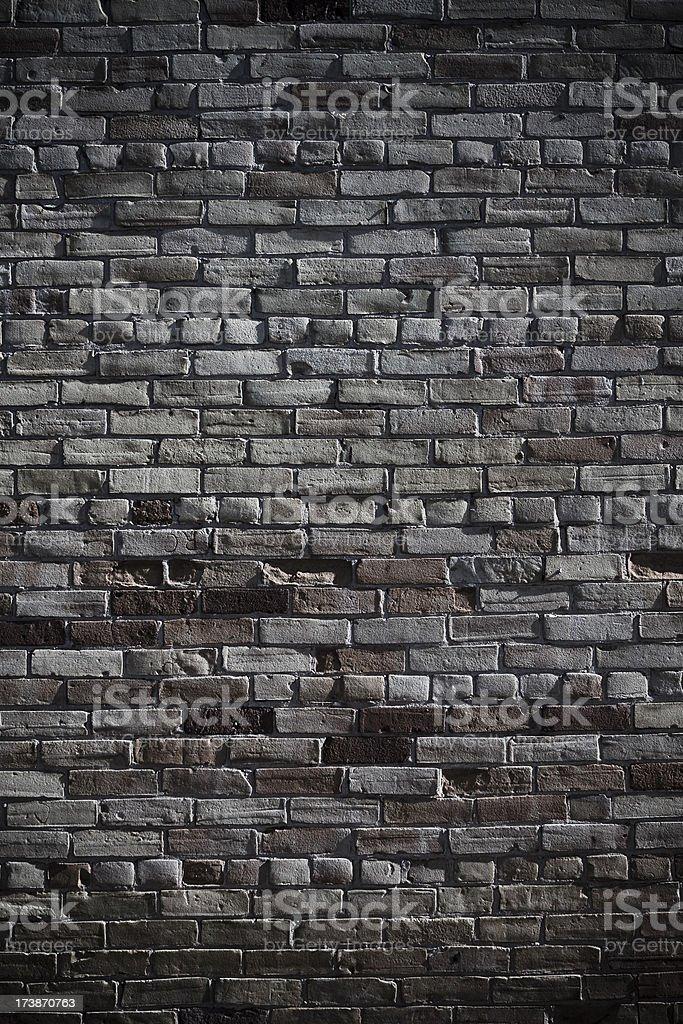 Nightime brick wall detail stock photo