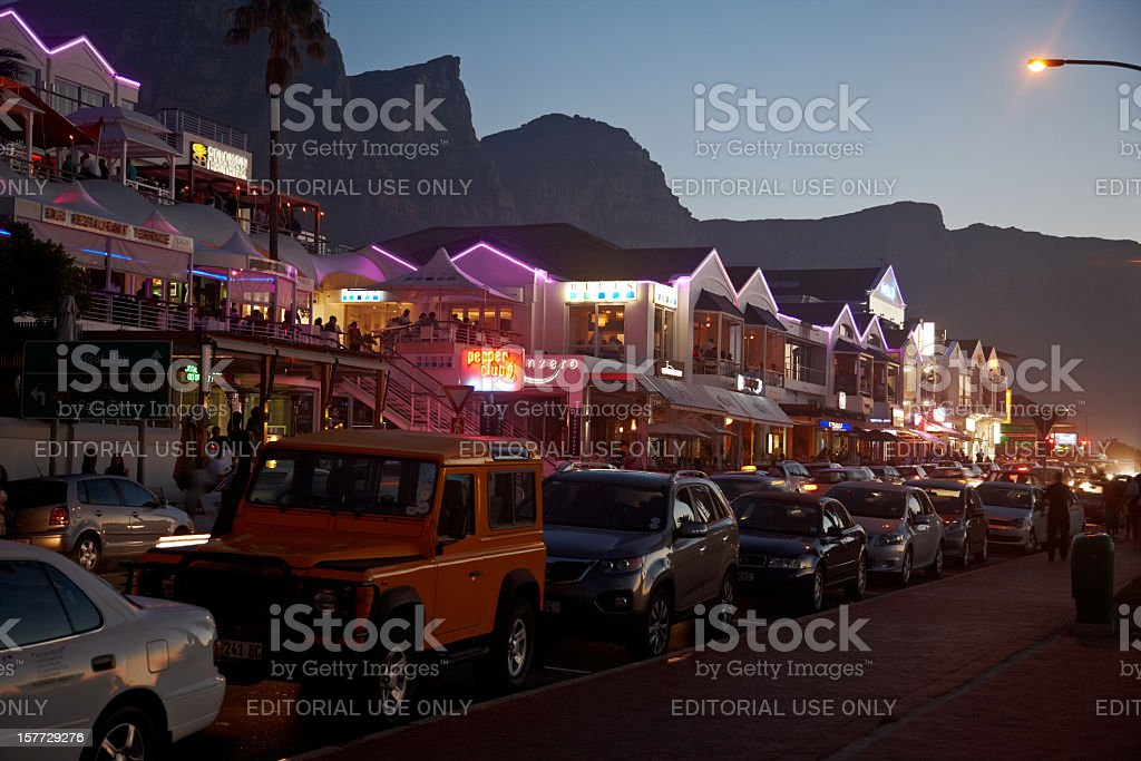 Nightlife at Camps Bay stock photo