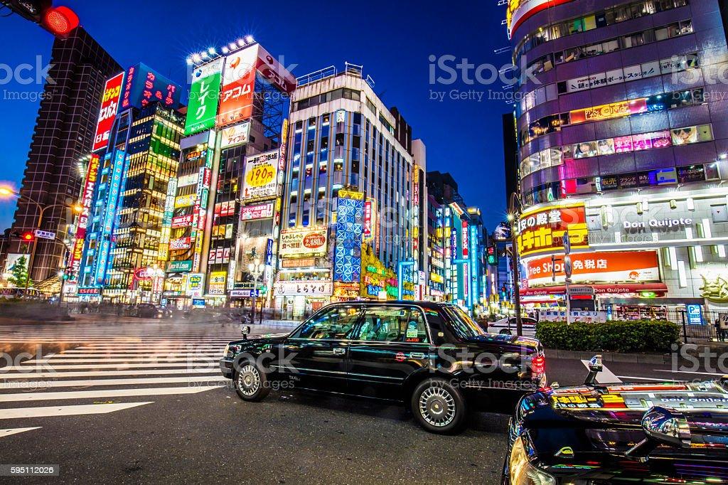 Nightlife at Shinjuku at dusk stock photo
