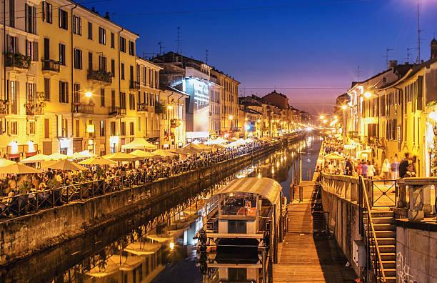 Nightlife at the Naviglio Grande in Milan