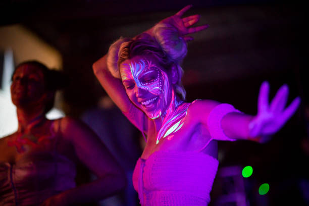 Nightlife Craziness Girls at the nightclub. body paint stock pictures, royalty-free photos & images