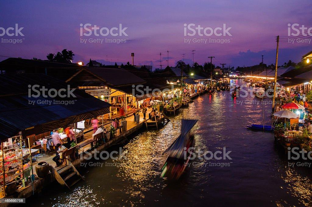 Nightlife floating market Amphawa stock photo