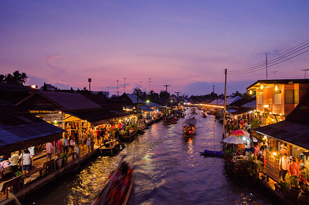 Nightlife floating market Amphawa stock photo