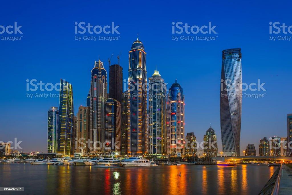 Nightlife in Dubai Marina. UAE. November 14, 2012 stock photo