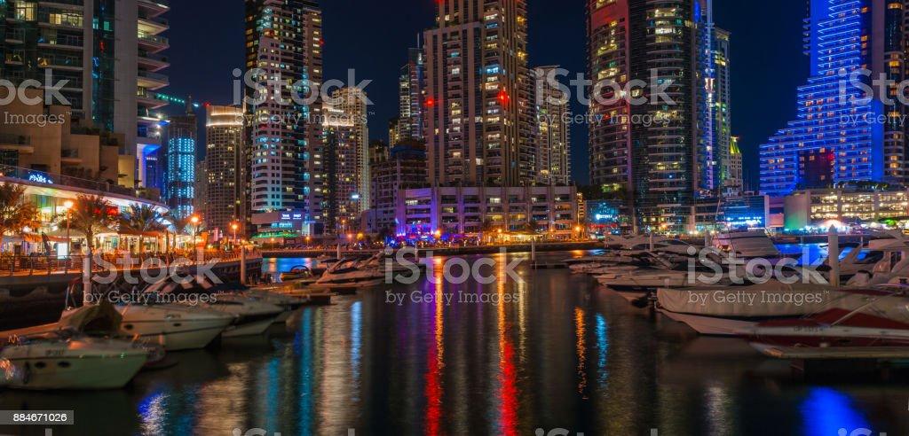 Nightlife in Dubai Marina. UAE. November 16, 2012 stock photo