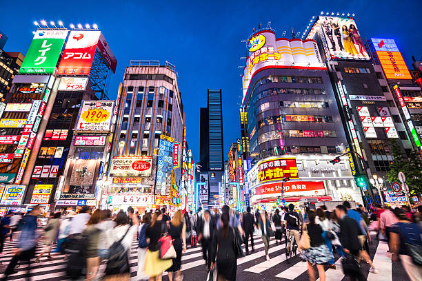 nightlife in tokyo, japan - tokyo japan stock photos and pictures