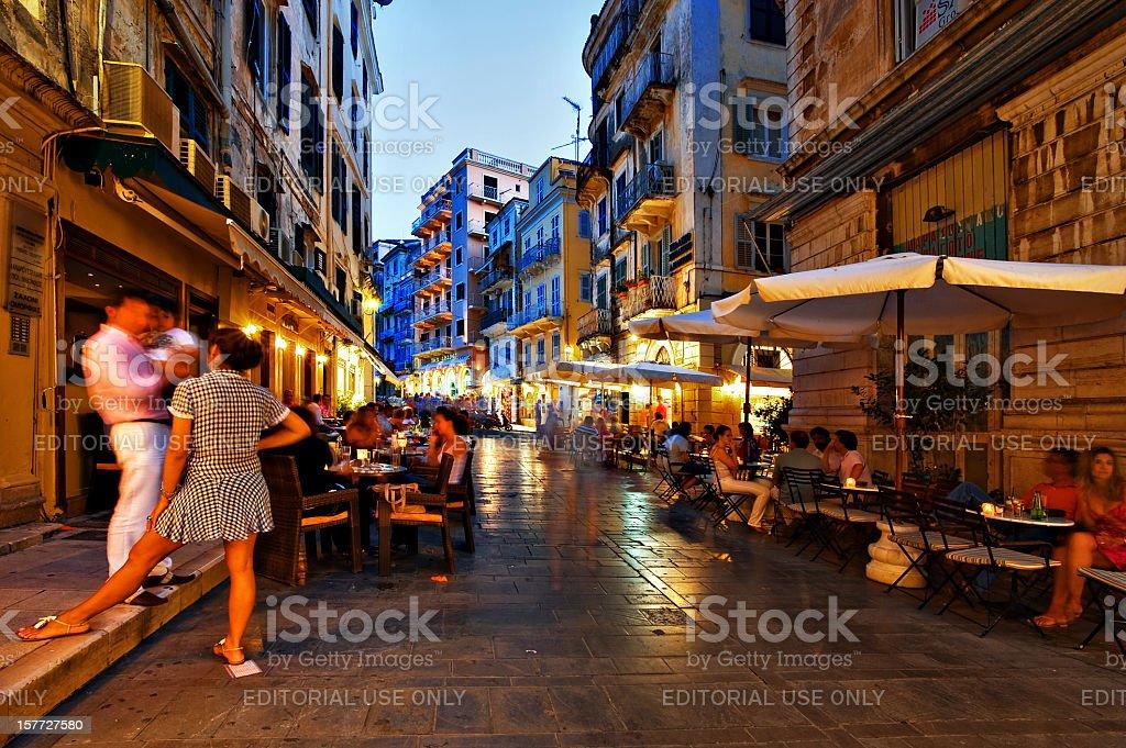 Nightlife on the street, Corfu town royalty-free stock photo