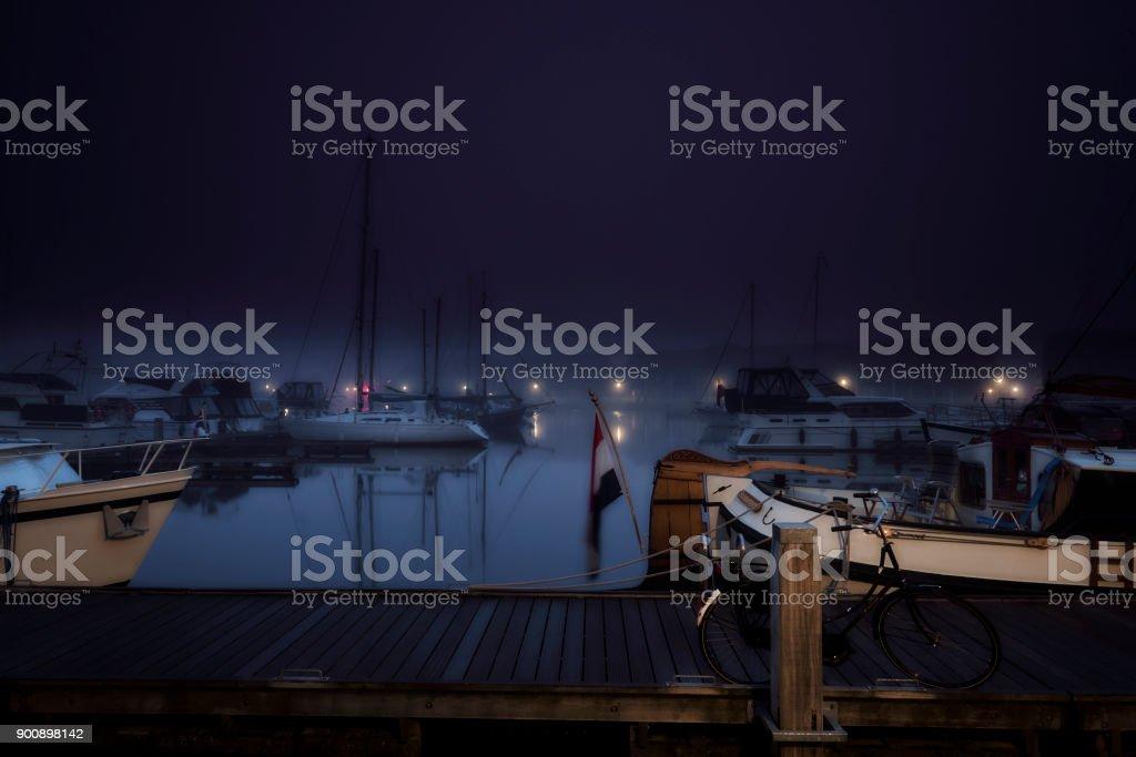 Nightly city marina stock photo