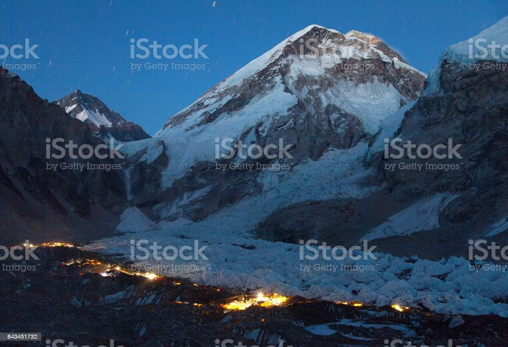 Nightly panoramic view of Mount Everest base camp stock photo