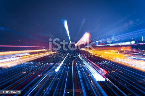 istock Nightly skyline with bright lights, zoomed 1188334739