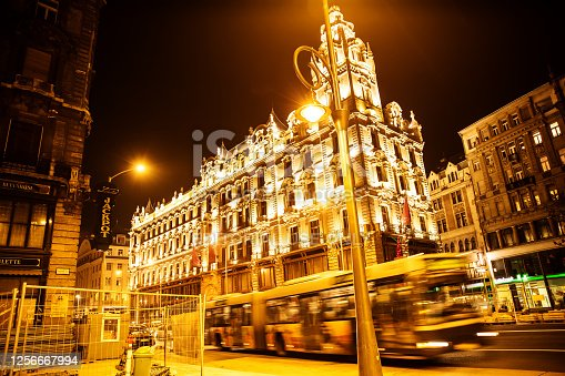 Nightly street scene in Budapest, Hungary on December 05, 2013.