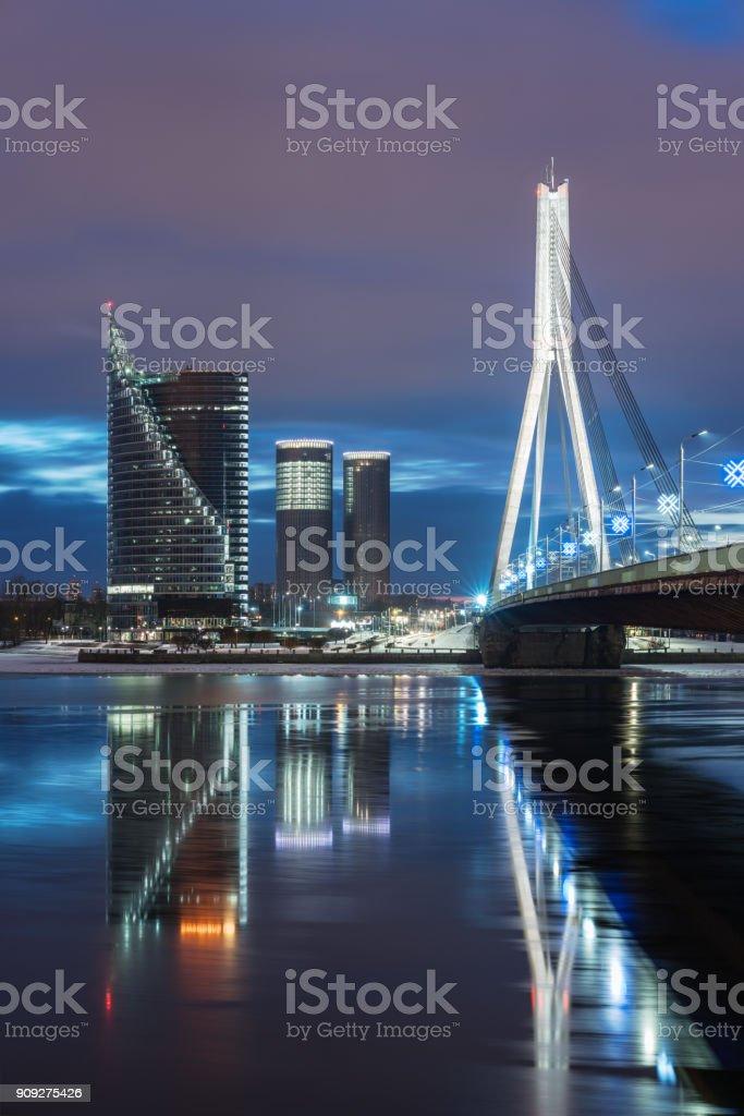 Nightly view on the Suspension bridge in Riga stock photo
