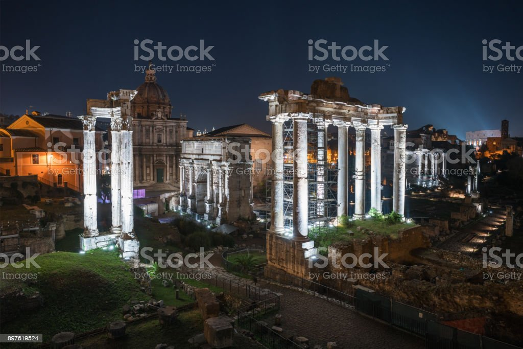Nightly view opon the Roman Forum in Rome stock photo