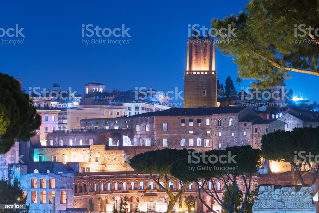 Nightly view opon the Trajan's Market in Rome, Italy stock photo