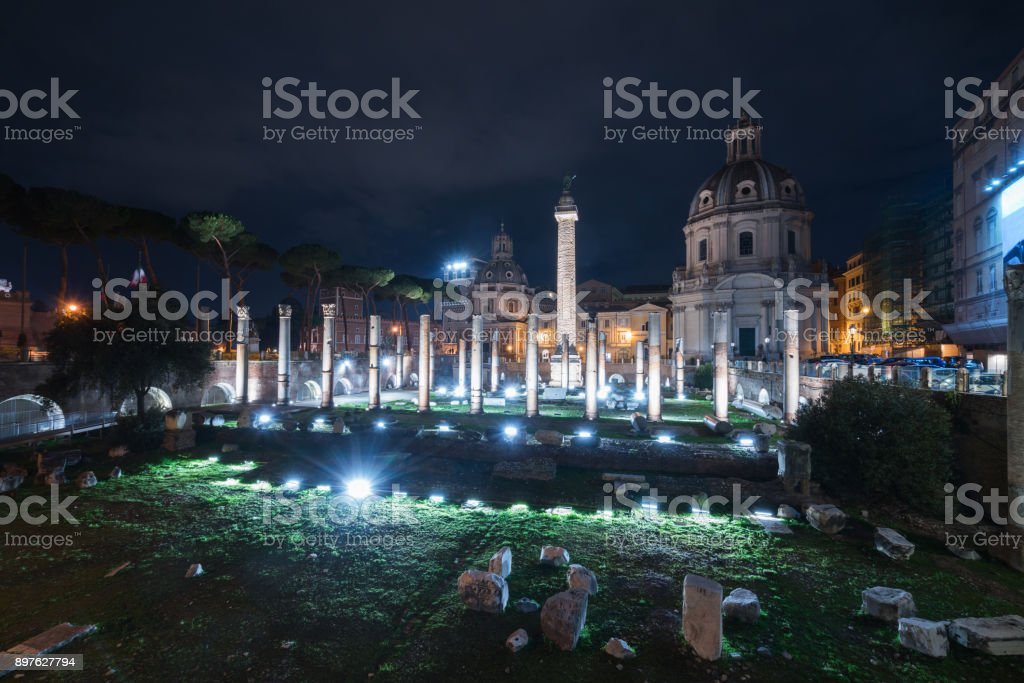 Nightly view upon Trajans Forum and Column stock photo