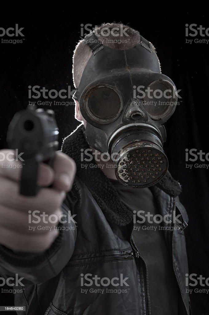 Nightmarish Masked Gunman stock photo