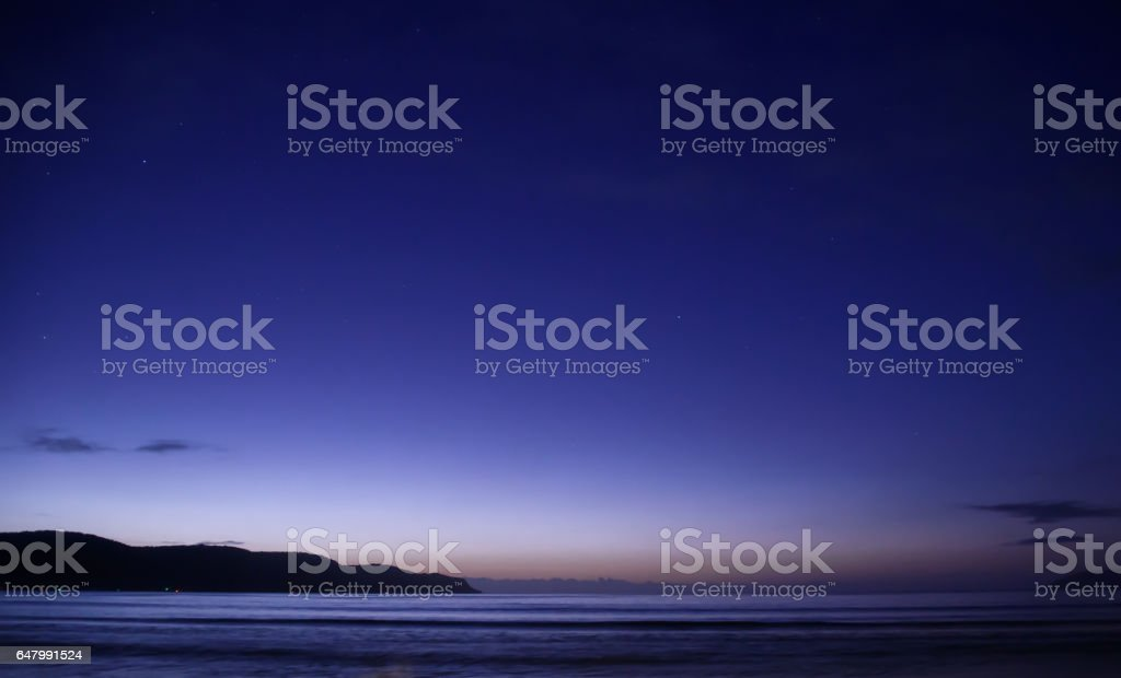 Nightscape at the beach stock photo