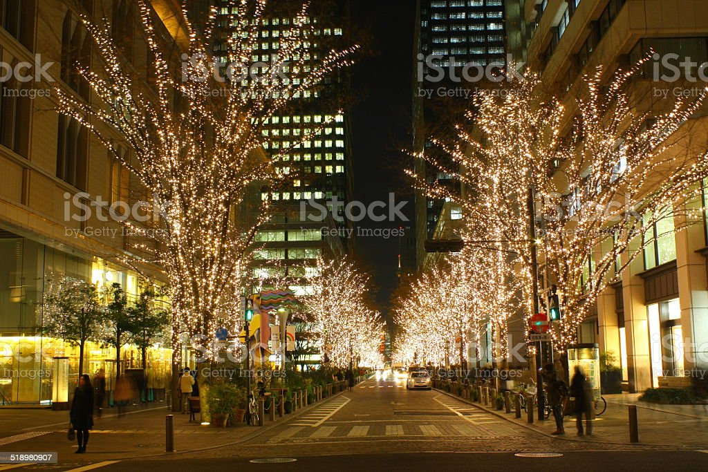 Nightscape in Tokyo, Japan. stock photo