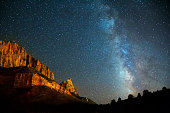 Long exposure photo of the stars and Milky Way over Zion Canyon National Park in Utah, USA