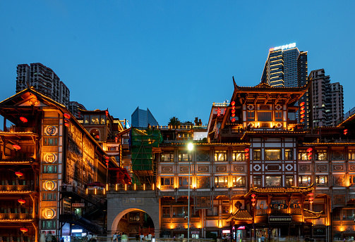 Nightscape of Hongyadong Ancient Town in Chongqing, China