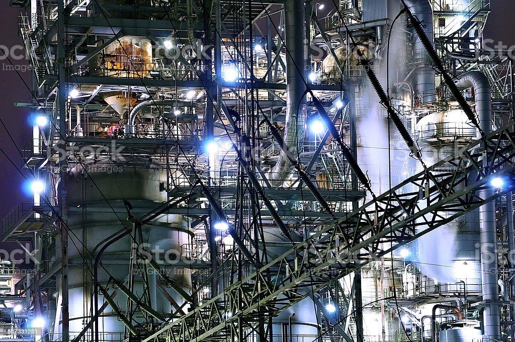 Nightscape of substation stock photo