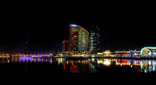 Nightscape photo of Dubai Festival City stock photo