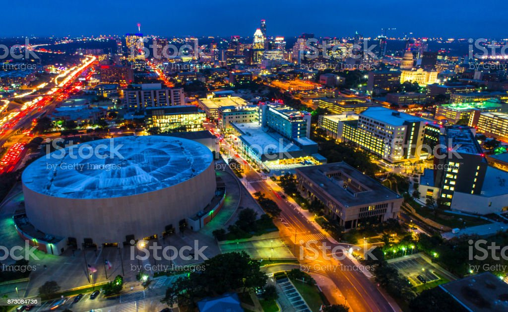 Nightscape timelapse aerial drone view Austin Texas at night stock photo