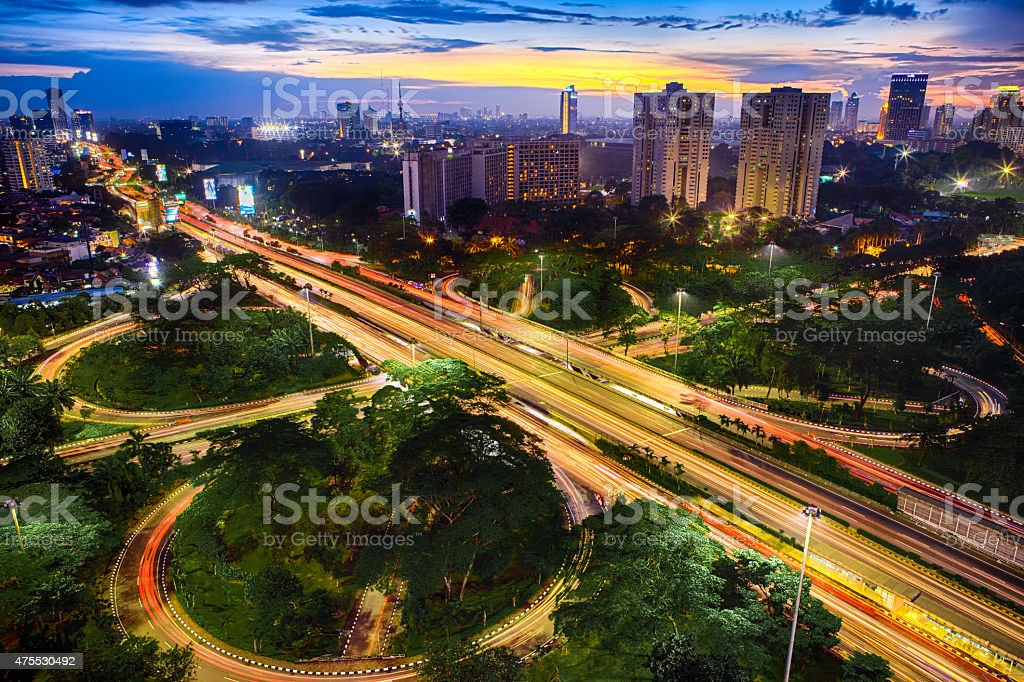 Nightshot city of Jakarta Indonesia Asia stock photo
