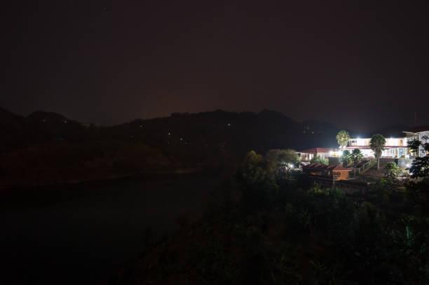 Nightshot of a Resort at Lake Kivu, Kibuye, Rwanda stock photo