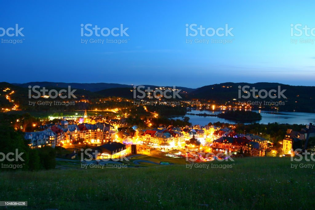 Nightshot of Tremblant village stock photo