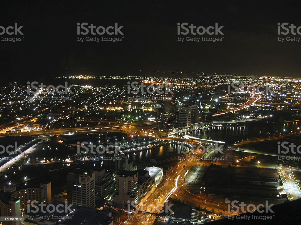 Nightshot over Melbourne city royalty-free stock photo