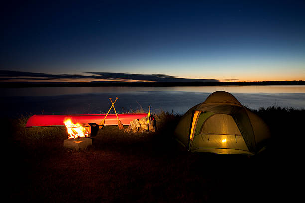Nighttime camp scene in Riding Mountain National Park stock photo