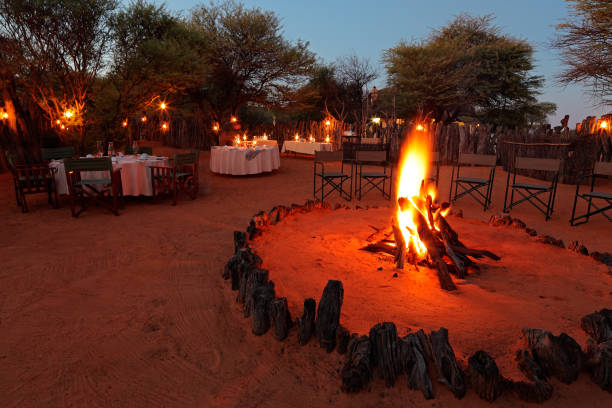 Nighttime campfire and decorated tables for outdoor safari catering stock photo