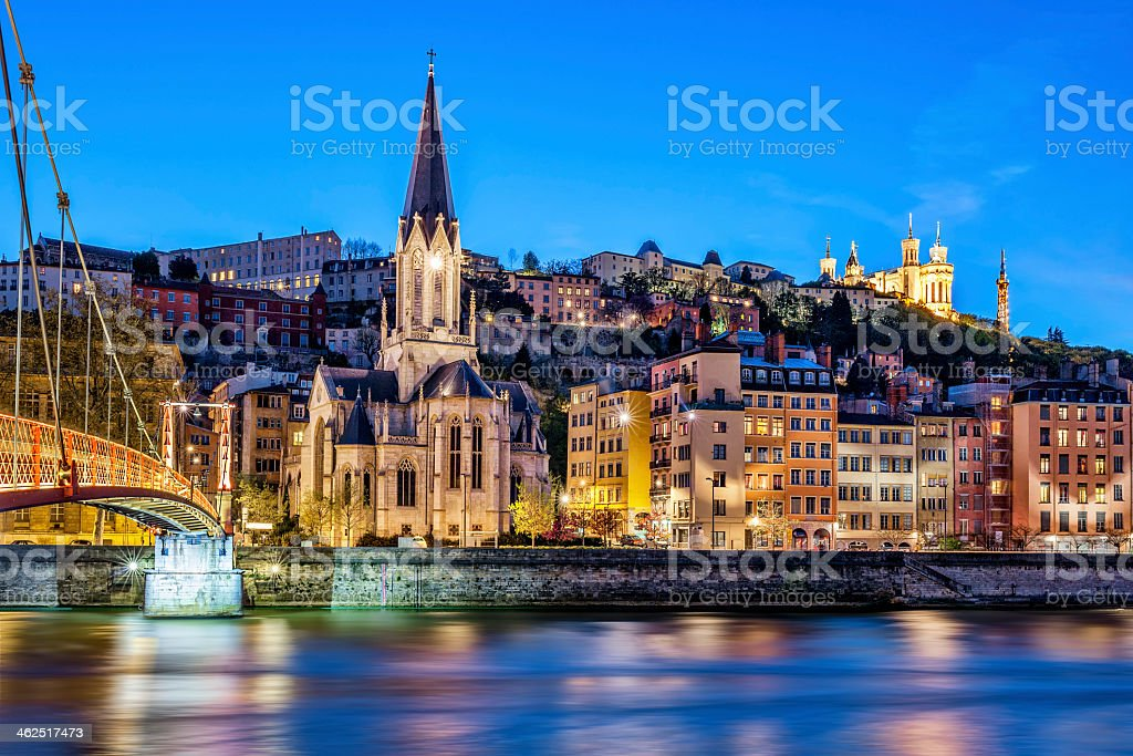 Nighttime cityscape of Lyon, France from the Saone River stock photo